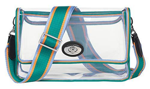 Becksöndergaard Damen Handtasche Durchsichtig Grün Hellblau Orange Gestreifter Rand Villa Graphic Bag Clear Green Kleine Schultertasche Mit Breitem Abnehmbaren Tragegurt Clutch Kunststoff 25x15,5 cm