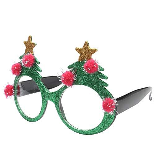 Toyvian Weihnachten Brille Weihnachtsbaum Spaßbrille Partybrille Weihnachtsschmuck Fotorequisiten Geschenk für Kinder Erwachsene Neujahr Silvester Kostüm