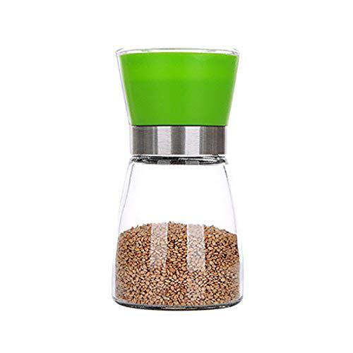 Pepper-Mühle Grinder, Adjustable Coarseness und gebürstete Glas Shaker Spice Container Condiment Jar Holder Grinding Bottle Kitchen Tools,Green (Spice Jar-schleifer)