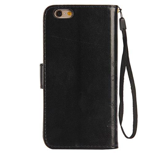 iPhone 6S Wallet Hülle,iPhone 6 Tasche,iPhone 6S Case - Felfy PU Ledertasche Luxe Bookstyle Ledertasche Schutzhülle Ablösbar Handliche Handy Strap Flip Standfunktion Magnetverschluss Schmetterling Mus Schwarz
