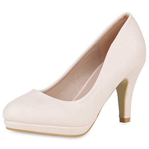 SCARPE VITA Klassische Damen Pumps Stiletto High Heels Elegante Party Schuhe 162410 Creme 37 Stiletto Pumps Schuhe