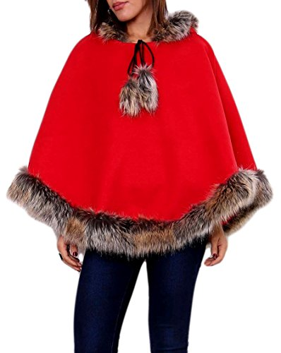 jowiha® Damen Luxury flauschiger Woll Poncho mit Kunstfell Besatz und Kapuze Rot S/M/L