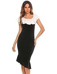 712e81913595 Chigant Damen Kleid Meerjungfrau Samt Midikleid Etuikleid Bodycon  Cocktailkleid mit Asymmetrischem Saum