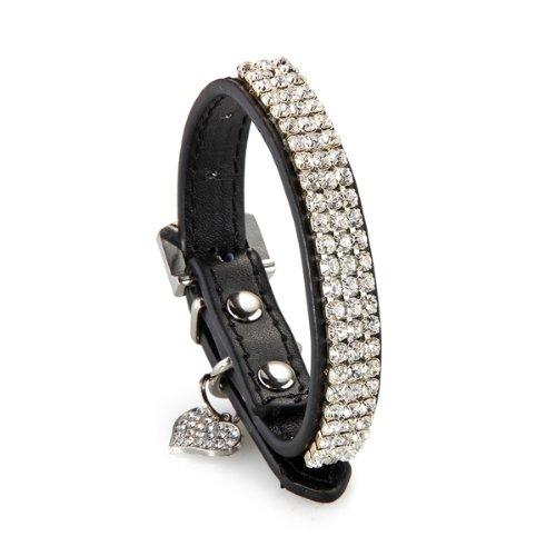 Hunde Halsband Halsbänder Strasshalsband Hundehalsband Leder Schwarz Größe XS - 3