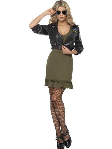 Karneval Damen Kostüm Top Gun Kleid und Bomberjacke sexy Gr.S (Kostüm Bomber Gun Top Jacke)