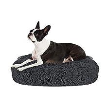 HomeChi Pet Calming Bed, Donut Cuddler Nest Warm Soft Plush Dog Cat Cushion with Cozy Sponge Non-Slip Bottom for Small Medium Pets Snooze Sleeping Indoor, Machine Washable (M(Dia 23.6inch), Dark Grey)