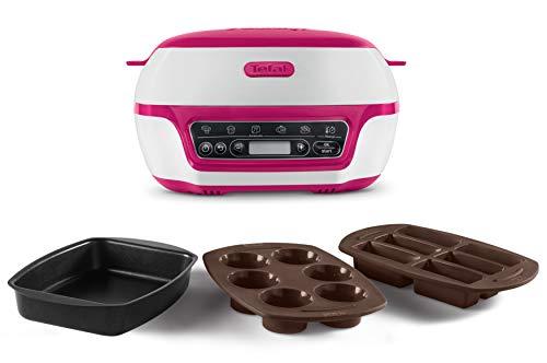 Tefal Cake Factory KD8018 Smarter Kuchenbackautomat (1200 W, ideal für Muffins, Schokoladen-Lava-Kuchen, Cup Cakes, Müsliriegel, Biskuit Kuchen, inkl. Rezeptbuch) weiß/lila