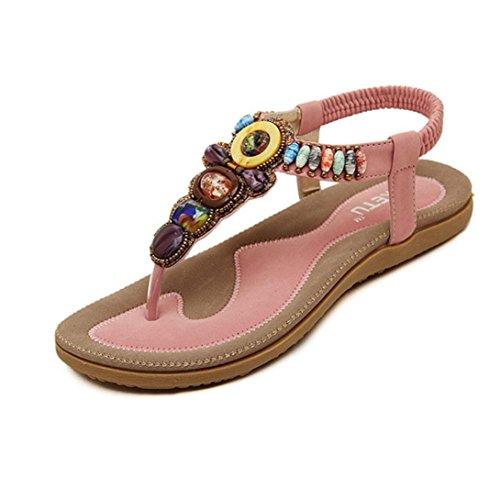 Fulltime®Women's Fashion Sweet Beaded Clip Toe Flats Bohemian Herringbone Sandals