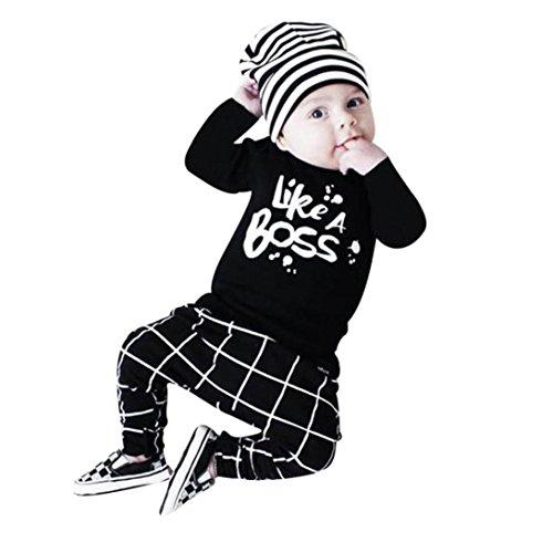 Baby Junge Kleidung Outfit, QinMM Beschriftung gedruckt lange Ärmel T-Shirt Tops + Hosen Set (6-12M, Schwarz)