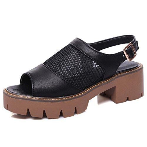 COOLCEPT Femmes Mode Slip On Sandales Orteil ouvert Bloc Slingback Chaussures Noir
