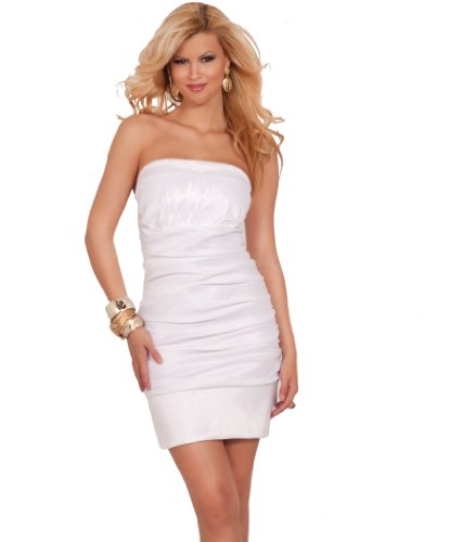 Strapless Princess Round Off Top Padded Ruched Fitted Evening Party Dress White