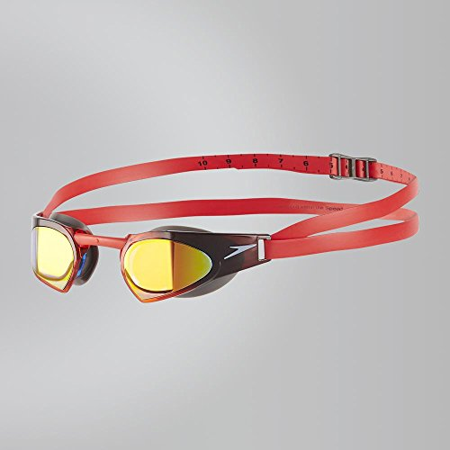 Speedo Fastskin Prime Mirror Goggles, Usa Charcoal/White/Lava Red, One Size Elite-buckle