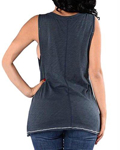 Auxo Femme Eté Sexy Col V Choker Gilet Shirt Lâche Rocking Imprimé Sans Manche Hauts Débardeurs Image