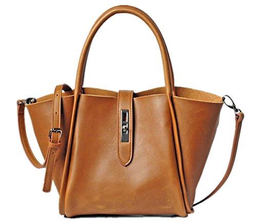 Hermiona Simple Fashion Genuine Leather Bag Shoulder Bag Handbag Crossbody Bag Fawn