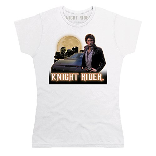 Official Knight Rider Cityscape T-shirt, Donna, Bianco, XL