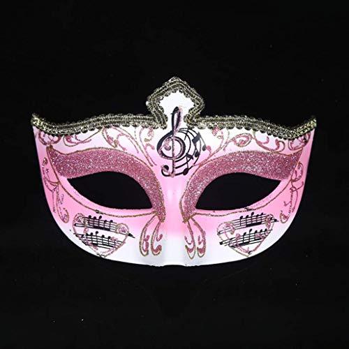 Treeshu Paar Masquerade-Maske, Venezianische Party-Maske Metallmasken Maske Mardi Gras Halloween-Maske Für Frauen und Männer,Pink
