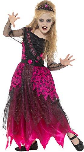 Smiffys Kinder Mädchen Deluxe Gothic Ball Königin Kostüm, Kleid und Stirnreif, Alter 4-6 Jahre, 48136 (Deluxe Bösen Königin Kostüm)