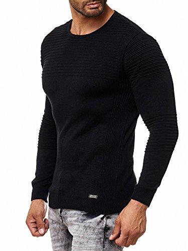 Rusty Neal Herren Feinstrick-Pullover Gerippt Streifen Schwarz Weiß Blau 13305 Schwarz