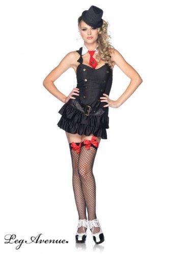 Mafia Kostüm Prinzessin - Leg Avenue Kostüm 2teilig Prinzessin Mafia schwarz/weiß Medium/Large