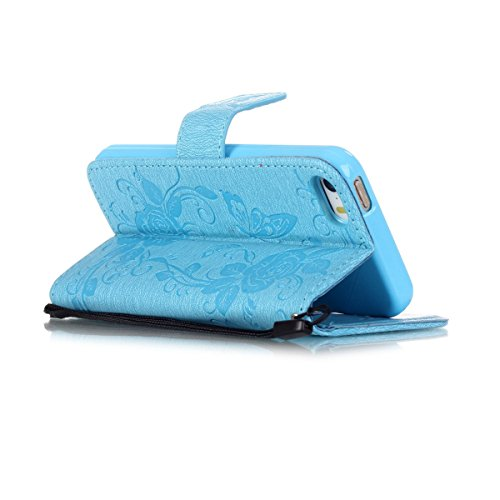 iPhone 5S Hülle Case,iPhone SE Hülle Case,Gift_Source [Card Slot] [Stand Feature] Magnetic Closure PU Leder Flower Butterfly Brieftasche Hülle Case Folio Flip Hülle Case Mit Strap für Apple iPhone SE/ E01-02-Blue