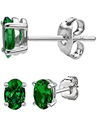 Mother's Day Gift Oval 4mm*3mm Each Natural Emerald Stud Earring