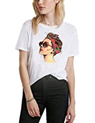Camisetas Casuales de Verano para Mujeres, Camiseta de Manga Corta Suelta, Cuello Redondo, Top de Camiseta con Estampado Gráfico Simple, Patrón Personalizable, Good dress, Blanco, METRO