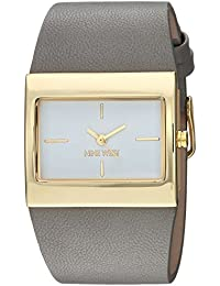 Nine West Women's NW/2034WTGY Gold-Tone and Grey Strap Watch