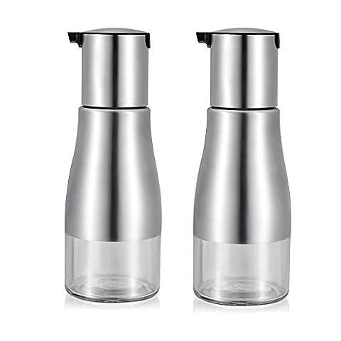 YoHom 11 Unzen Edelstahl und Glas Ölflasche Behälter für Sojasoßen Essig öl spender, Inhalt: 2 Stück,