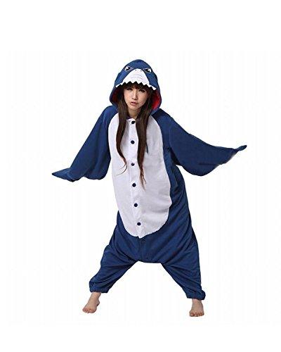 Kigurumi Pyjama für Damen und Herren, Unisex, für Erwachsene, Kostüm, Einteiler Gr. M, hai