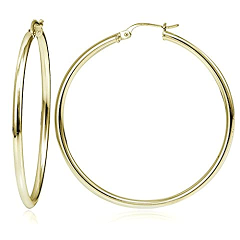 18K Gold over Sterling Silver Large High Polished 50mm Round Hoop Earrings