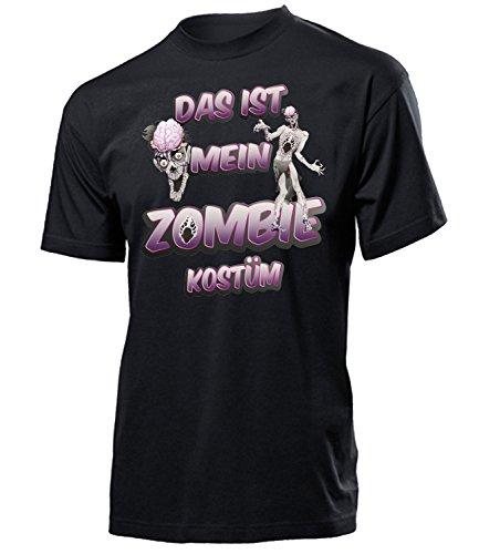 Zombie Kostüm Herren T-Shirt Monster Horror Männer Karneval Fasching Faschings Karnevals Paar Gruppen Outfit Klamotten Oberteil Motto Party Schwarz S