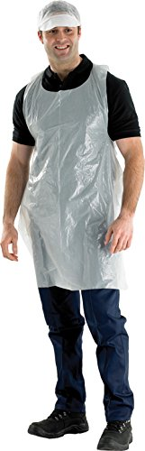 Flat Pack White Plastic Aprons - 100 Test