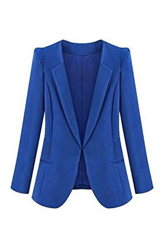 Le Donne Soild Bavero Aperto Formale Ufficio Blazer Giubbotto Di Taglia Blue