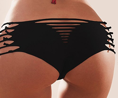 LAOO SA Damen Bikinihose Schwarz - Schwarz