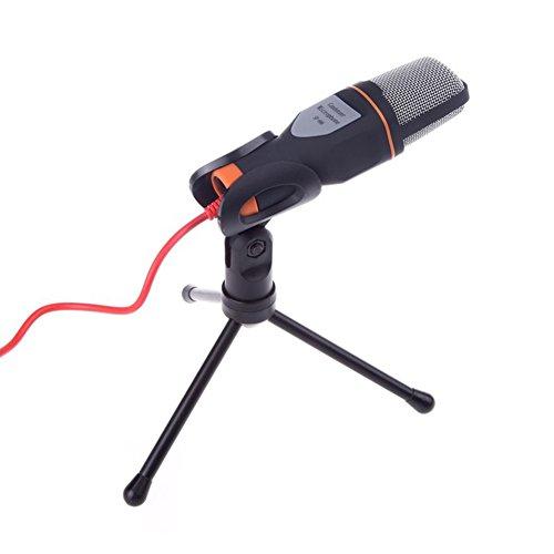 myfei Professional tragbar mini Mikrofon, 3,5mm Audio Wired Stereo-Kondensator Mikrofon mit Halter Ständer Clip für PC Chatten Singen Karaoke Laptop schwarz schwarz -