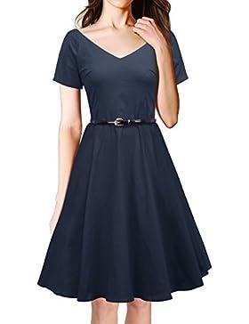 LUOUSE 40s 50s 60s Vintage V-Ausschnitt Schwingen Rockabilly Pinup Ballkleid Partei Kleid