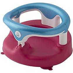 Rotho Babydesign Badesitz, Mit aufklappbarem Ring inkl. Kindersicherung, 7-16 Monate, Bis max. 13kg, BPA-frei, 35x31,3x22cm, Raspberry Pearl/Aquamarine Pearl/Weiß