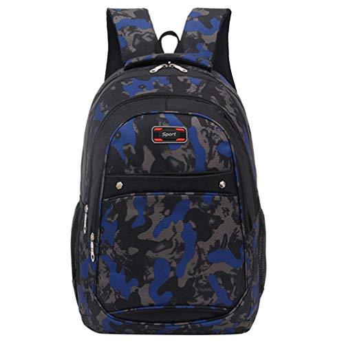 Cloom zaino, moda bambini bambino ragazzi ragazze zaino sacchetti di scuola per bambini zaino adolescenziale ragazzi zaino della scuola camuffare stampa borse per studenti(blu scuro,1pc)