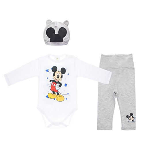 Mickey Mouse 3teiliges Baby Set Size 80, Farbe Weiss (Mickey Mouse Mützen)