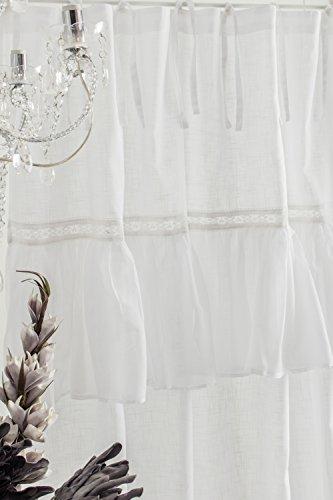 Sofia weiss Vorhang Gardine mit Volant ca. 145cmx250cm Spitzenborte Blumenmuster Vorhang Gardinenschal Shabby Chic Vintage Landhaus Franske Leinenoptik (Gardinen Mit Volant)