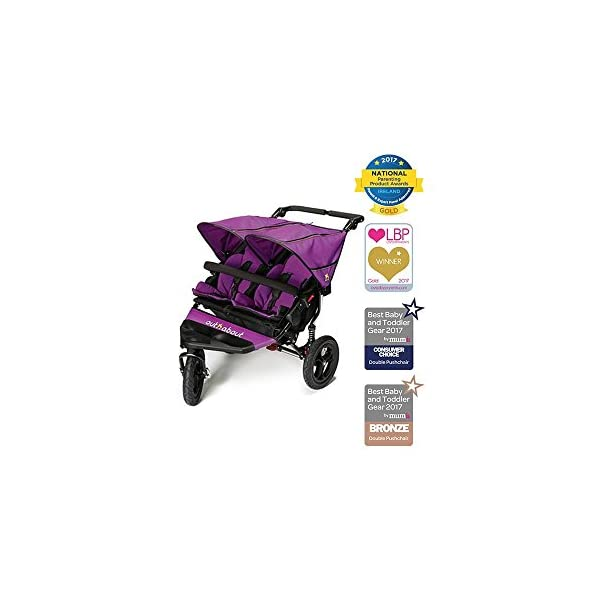 Out 'N' About Nipper Double V4 - Purple Punch Out 'n' About LATEST V4 MODEL Twin independant sun canopy's & peek-a-boo window & auto-locking fold NARROW 72cm WIDTH! All-terrain 3-Wheeler pushchair, suitable for use from Birth to 4 years (approx) Independent Multi-position adjustable backrest, including lie flat with 5-Point Safety Harness 2