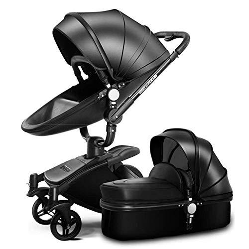 MOIMK Silla De Paseo Reversibilidad Rotación Multifuncional De 360 Grados con Asiento Y Capazo Rodamiento 25KG,Black