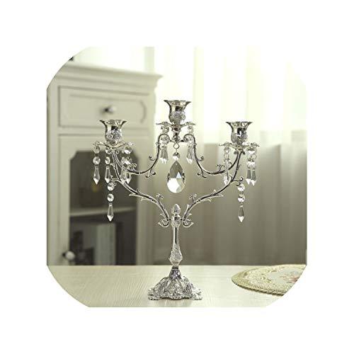 Noon-Sunshine candlestick Art-Kristallkerzenhalter-Hochzeits-Mittelstück-Kandelaber-Abendessen-Deko-luxuriöses Romantisches Kerzenlicht 3 u. 5 Lichter 3 Lichter -