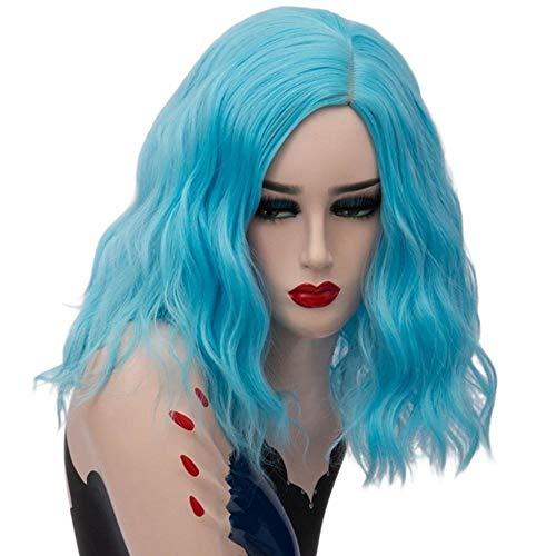 Nyrgyn Cosplay Perücke Kurze synthetische Haare Frauen Orange Bunte Omber lockige Perücken, tiefschwarz, 14 Zoll -