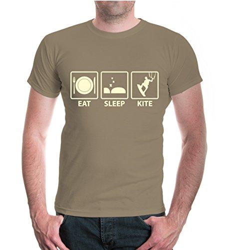 buXsbaum® T-Shirt Eat Sleep Kite Khaki-Beige