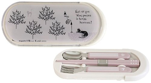 Shinzi Katoh 3 pezzi bacchette, forchetta e cucchiaio Set for Children - Paris gatti design