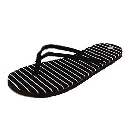 Fulltime® Stripe Flat Pantoufles Summer Beach Pantoufles Massage Pantoufles (Noir)