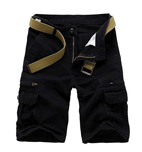 SMITHROAD Herren Cargo Short Chino Shorts 6-Pocket-Style Kurze Hose Freizeithose 5 Farben W28-W38 Schwarz