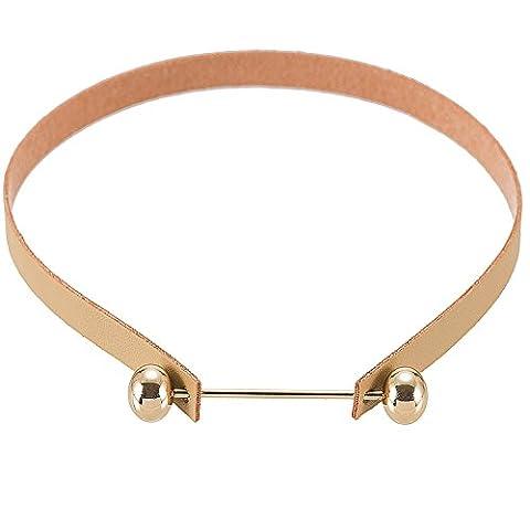 Brun vrai cuir Choker collier élégant rétro avec collier Vintage pour femmes 13.1 pouces