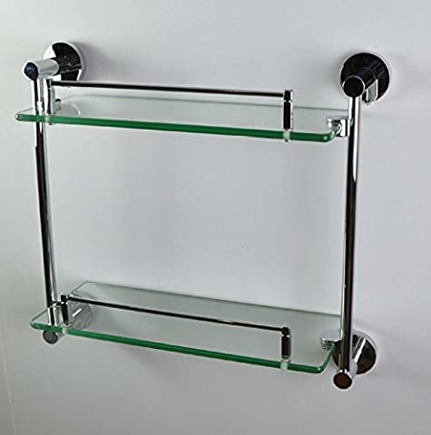 Housler® ROUND Twin Double Two Tier Glass Shelf Bathroom Accessories